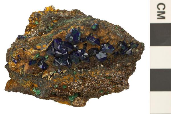 image of azurite a monoclinic crystal shape