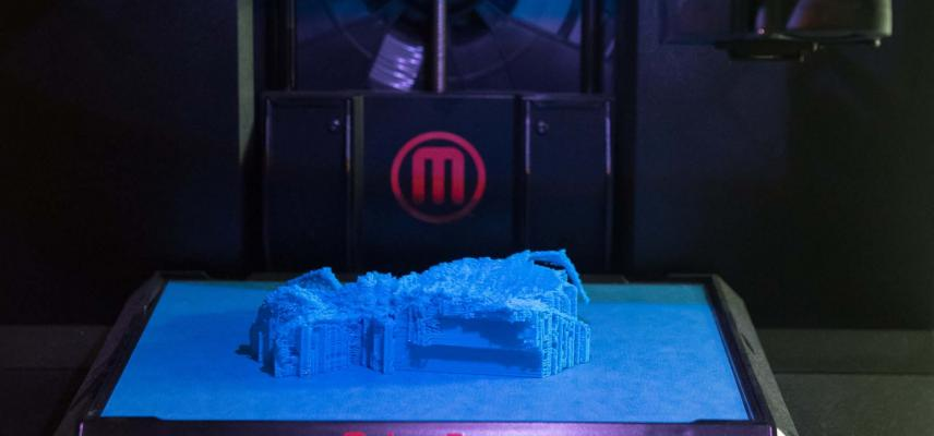 3D printer used to create a physical model of a fossil.