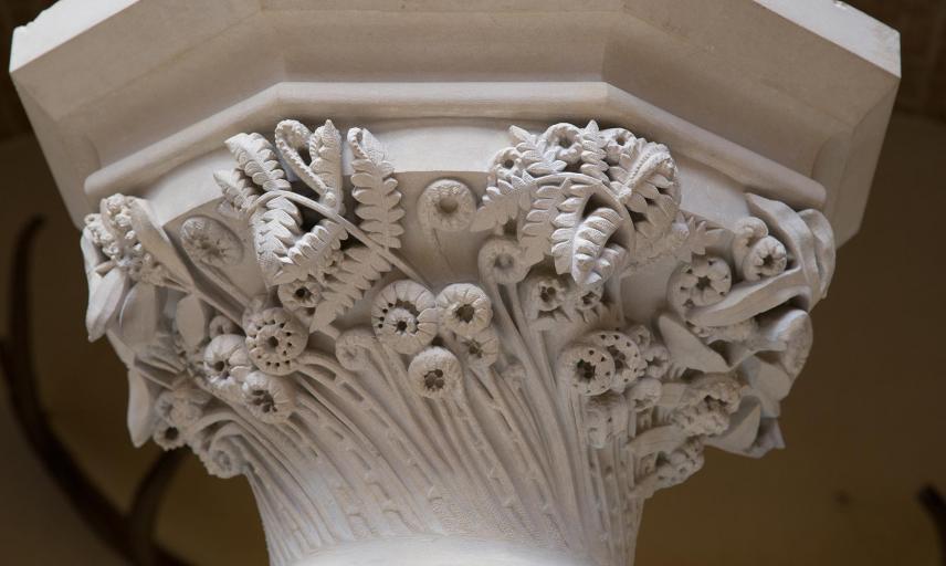 Carved botanical capital depicting British ferns